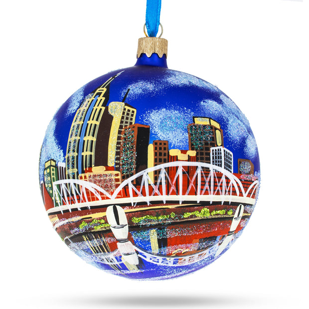 Nashville, Tennessee Glass Christmas Ornament 4 Inches by BestPysanky