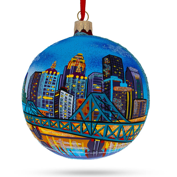 Louisville, Kentucky Glass Ball Christmas Ornament 4 Inches by BestPysanky