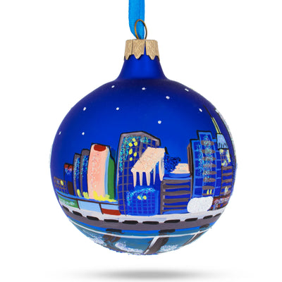 Oklahoma City, Oklahoma Glass Christmas Ornament by BestPysanky