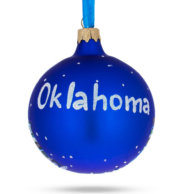 Oklahoma City, Oklahoma Glass Christmas Ornament