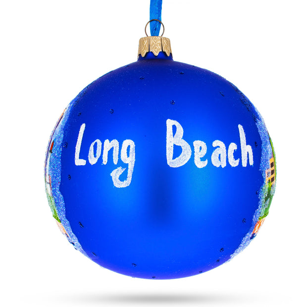 Buy Online Gift Shop Long Beach, California Glass Ball Christmas Ornament 4 Inches