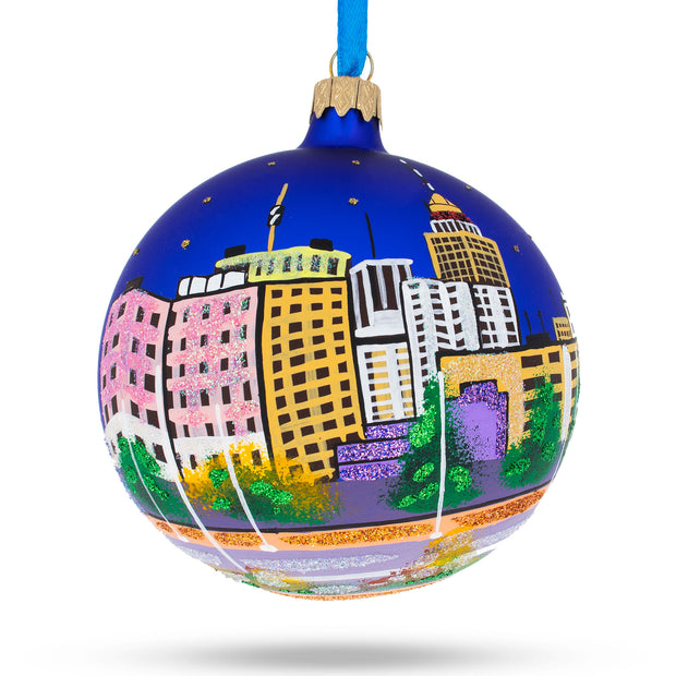 Fresno, California Glass Ball Christmas Ornament 4 Inches by BestPysanky