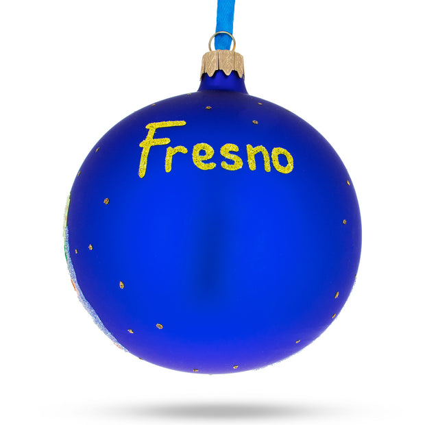 Buy Online Gift Shop Fresno, California Glass Ball Christmas Ornament 4 Inches