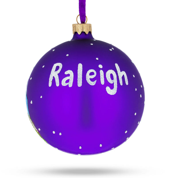 Buy Online Gift Shop Raleigh, North Carolina Glass Ball Christmas Ornament 4 Inches