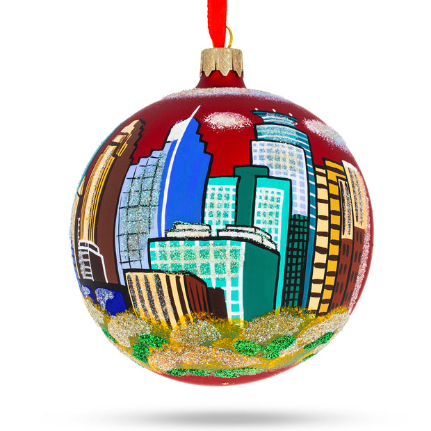 Minneapolis, Minnesota Glass Christmas Ornament 4 Inches by BestPysanky