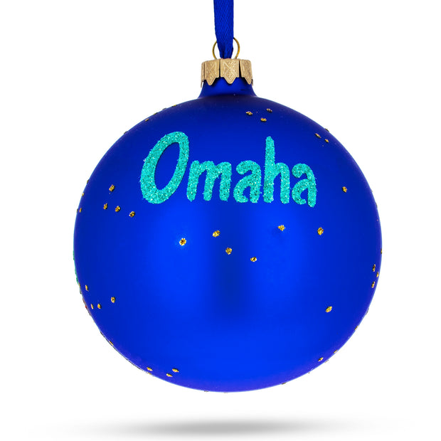Buy Online Gift Shop Omaha, Nebraska Glass Ball Christmas Ornament 4 Inches