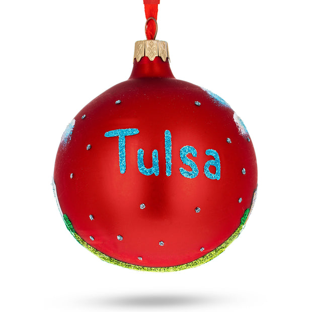 Tulsa, Oklahoma Glass Christmas Ornament