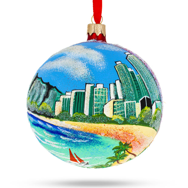 Honolulu, Hawaii Glass Christmas Ornament 4 Inches by BestPysanky