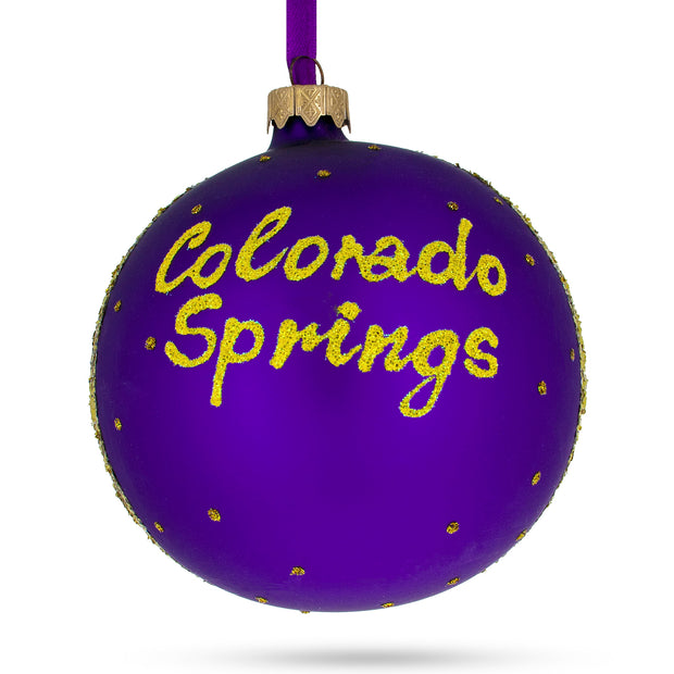 Buy Online Gift Shop Colorado Springs, Colorado Glass Ball Christmas Ornament 4 Inches