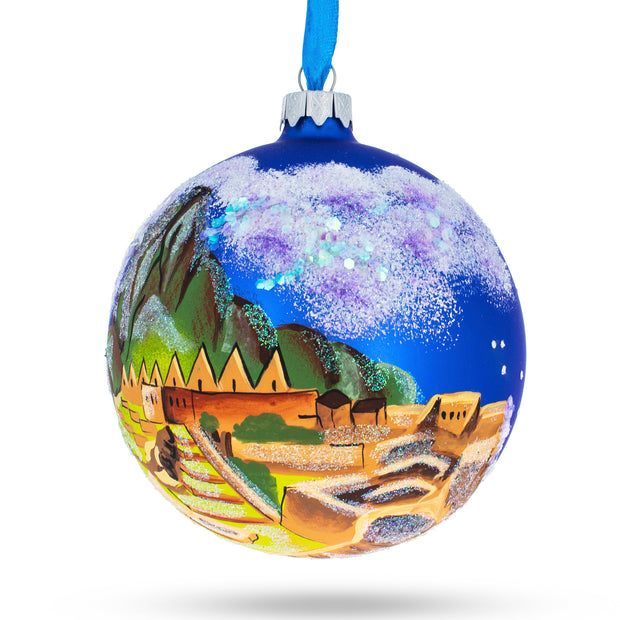 Machu Picchu, Peru Glass Christmas Ball Ornament 4 Inches by BestPysanky