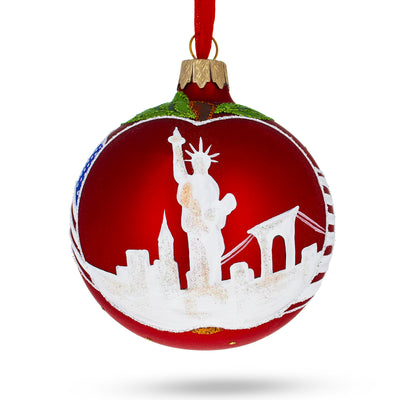 I Love New York Glass Christmas Ornament by BestPysanky
