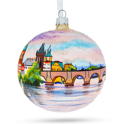 Karluv Most, Prague, Czech Republic Glass Ball Christmas Ornament 4 Inches by BestPysanky