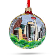Calgary, Canada (Calgary Tower) Glass Ball Christmas Ornament by BestPysanky
