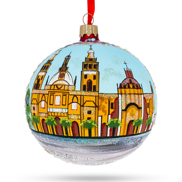 Zocalo, Mexico City, Mexico Glass Ball Christmas Ornament 4 Inches by BestPysanky