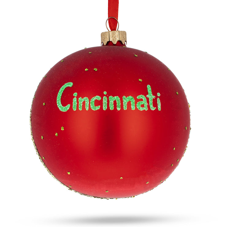 Buy Online Gift Shop Cincinnati, Ohio Glass Ball Christmas Ornament 4 Inches