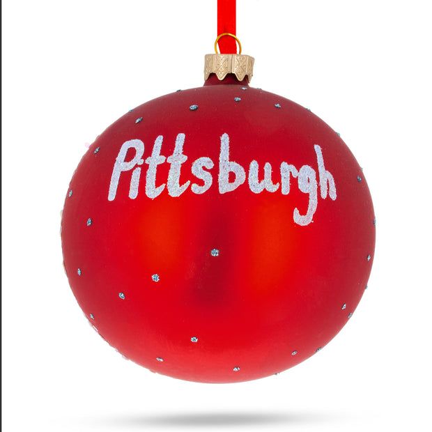 Pittsburgh, Pennsylvania Glass Ball Christmas Ornament 4 Inches