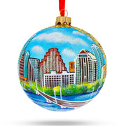 Austin, Texas Glass Ball Christmas Ornament 4 Inches by BestPysanky