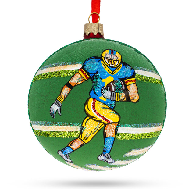 Football Player Glass Ball Christmas Sports Ornament 4 Inches by BestPysanky