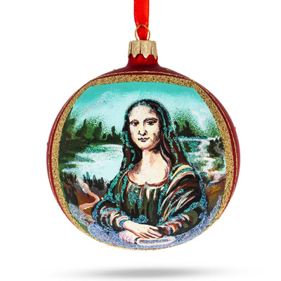 "Leonardo da Vinci ""Mona Lisa"" Glass Ball Christmas Ornament 4 Inches by BestPysanky"