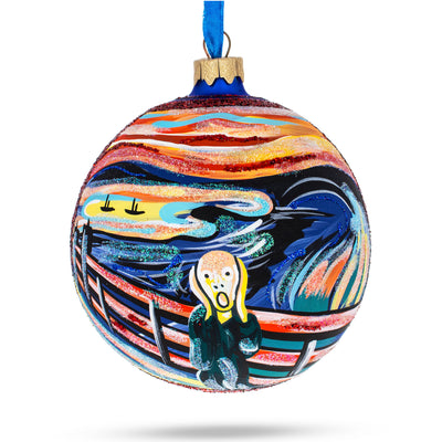 "Edvard Munich ""The Scream"" Glass Ball Christmas Ornament 4 Inches by BestPysanky"