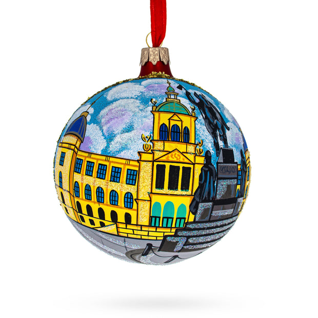 Statue of St Wenceslas, Prague, Czech Republic Glass Ball Christmas Ornament 4 Inches by BestPysanky