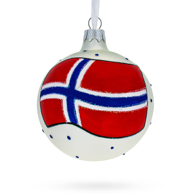 Norway Flag Glass Ball Christmas Ornament by BestPysanky