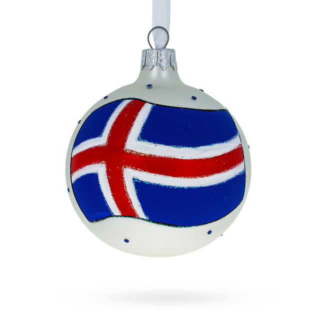 Iceland Flag Glass Ball Christmas Ornament by BestPysanky