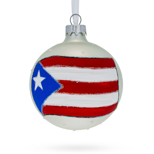 Puerto Rico Flag Glass Ball Christmas Ornament by BestPysanky