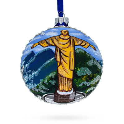 Christ the Redeemer, Rio de Janeiro, Brazil Glass Ball Christmas Ornament 4 Inches by BestPysanky