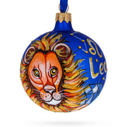Astrological Zodiac Sign Leo Blue Glass Ball Christmas Ornament by BestPysanky