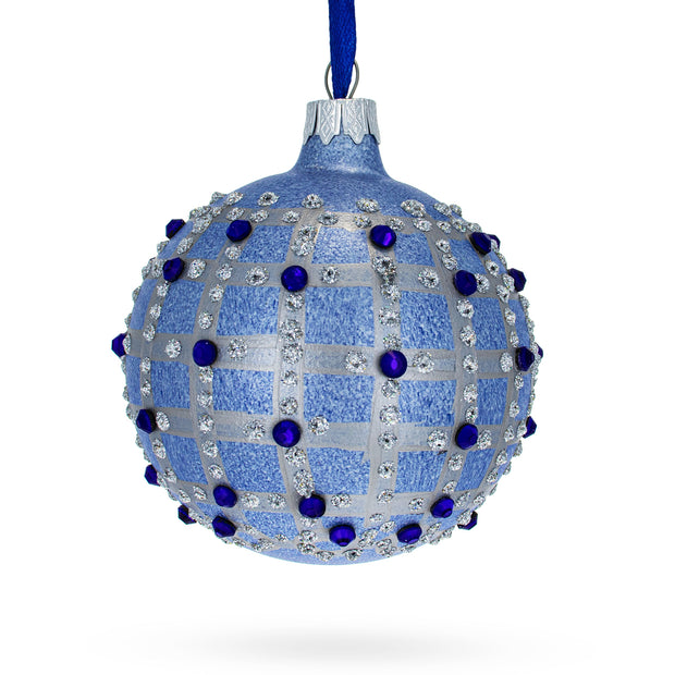 French Designer Blue Jewels Check Pattern Necklace Glass Ball Christmas Ornament by BestPysanky
