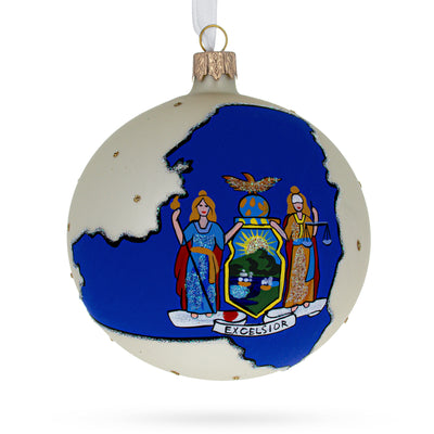 New York State Glass Ball Christmas Ornament 4 Inches by BestPysanky