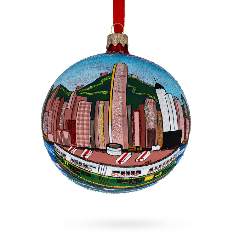 Star Ferry, Hong Kong Glass Ball Christmas Ornament 4 Inches by BestPysanky