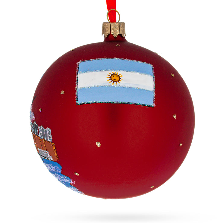 Buy Online Gift Shop Puerto Madero, Buenos Aires, Argentina Glass Ball Christmas Ornament 4 Inches