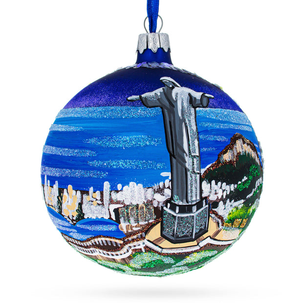 Corcovado - Christ the Redeemer, Rio de Janeiro, Brazil Glass Christmas Ornament 4 Inches by BestPysanky