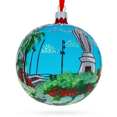 Cerro San Cristobal, Santiago, Chile Glass Ball Christmas Ornament 4 Inches by BestPysanky