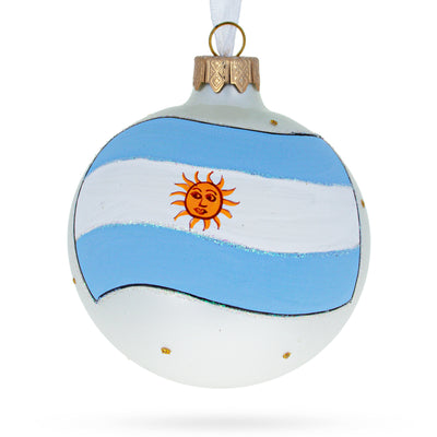 Flag of Argentina Glass Ball Christmas Ornament by BestPysanky