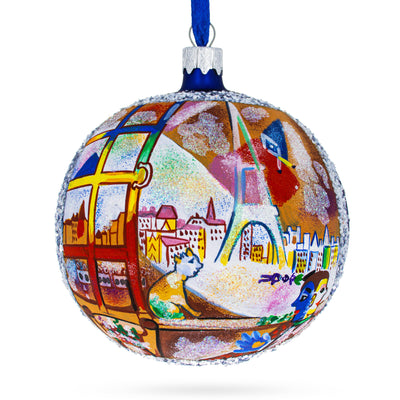 "1913 ""Paris Through the Window"" Painting by Marc Chagall Glass Ball Christmas Ornament 4 Inches by BestPysanky"