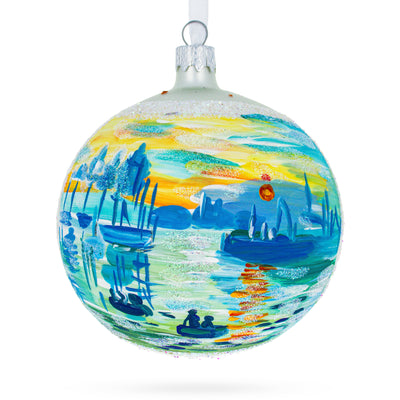 "1874 ""Impression Sunrise"" Painting by Claude Monet Glass Ball Christmas Ornament 4 Inches by BestPysanky"