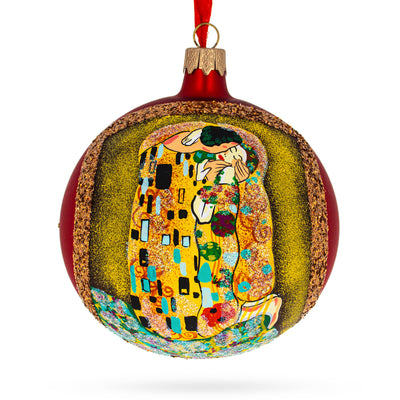 "1908 ""The Kiss"" Painting by Gustav Klimt Glass Ball Christmas Ornament 4 Inches by BestPysanky"