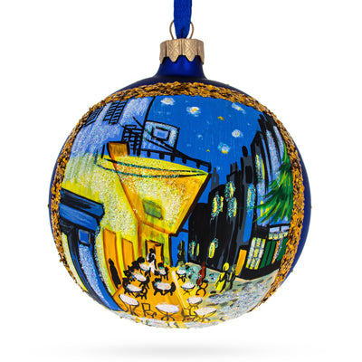 "1888 ""Cafe Terrace at Night"" Painting by Vincent Van Gogh Glass Ball Christmas Ornament by BestPysanky"