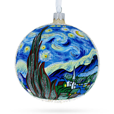 "1880 ""The Starry Night"" Painting by Vincent van Gogh Glass Ball Christmas Ornament 4 Inches by BestPysanky"