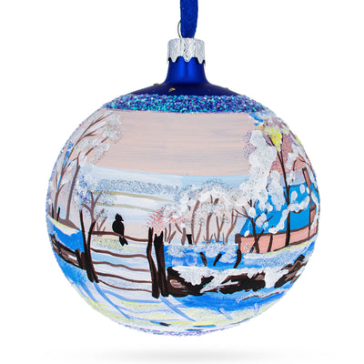 "1869 ""The Magpie"" Painting by Claude Oscar Monet Glass Ball Christmas Ornament 4 Inches by BestPysanky"