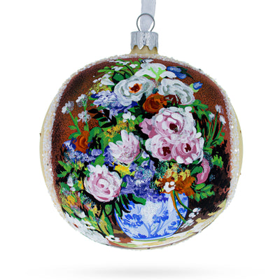 "1866 ""Spring Bouquet"" Painting by Pierre Auguste Renoir Glass Ball Christmas Ornament 4 Inches by BestPysanky"