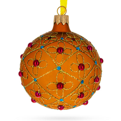Jeweled Crosses on Gold Glass Ball Christmas Ornament by BestPysanky