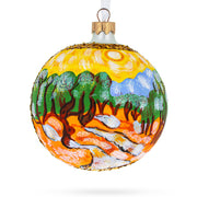 "1889 ""Olive Trees with Yellow Sky and Sun"" Painting by Vincent Van Gogh Glass Ball Christmas Ornament by BestPysanky"