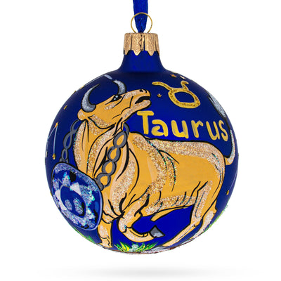 Taurus Astrological Zodiac Horoscope Sign Glass Ball Christmas Ornament by BestPysanky