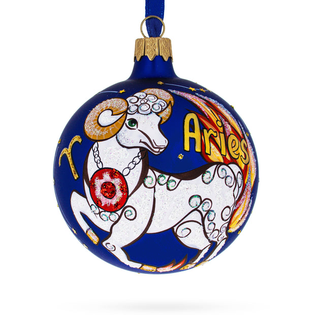 Aries Astrological Zodiac Horoscope Sign Glass Ball Christmas Ornament by BestPysanky