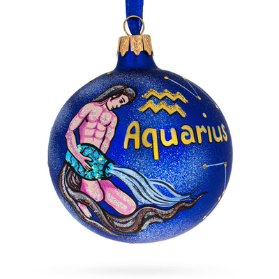 Aquarius Astrology Zodiac Sign Glass Ball Christmas Ornament by BestPysanky