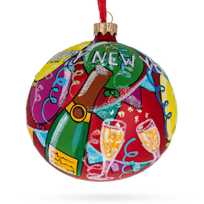 Happy New Year Glass Ball Christmas Ornament 4 Inches by BestPysanky